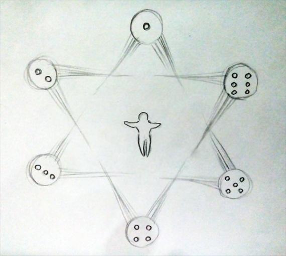 Выпавшее на кубике число определяет одну из рас - сторон Печати Человечности