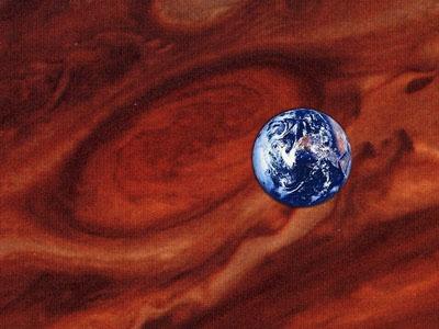 Большое красное пятно Юпитера и Земля